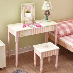 Amazing offer on Fantasy Fields - Bouquet Thematic Wooden Kids Flip Top Mirror Makeup Vanity Table Stool Set - 2 Drawers Real Mirror Play Set Desk Storage Stool, Non-Toxic, Lead Free Water-Based Paint online - Pptoplike Mirrored Vanity Table, Vanity Table Set, Makeup Table Vanity, Vanity Set With Mirror, Vanity Stool, Wooden Vanity, Table Mirror, Vanity Area, Vintage Vanity