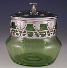 'Tudric' Powell glass jar with polished pewter collar & lid, ca. 1910 - British (manufacturer: Liberty & Co; designer: Archibald Knox)