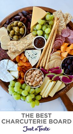 Need inspiration for assembling the ultimatecheese board? I've rounded up my top tastes and pro tips for how to make the best charcuterie board, including recommendations for meats, cheeses, dried fruits, crackers and more cheese platter essentials. justataste.com #charcuterieboard #cheeseboard #cheeseboardideas #fingerfoods #appetizers #holidayappetizers #thebestcharcuterieboard #justatasterecipes Party Food Platters, Cheese Platters, Party Trays, Food Trays, Appetizer Recipes, Appetizers, Cheese Recipes, Brunch Recipes, A Food