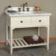 "36"" Seton Console Vanity - Undermount Sink - 8"" Widespread - Antiqued Dynasty White Marble"