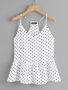 Cute Cami Polka Dot Regular Fit V Neck and Spaghetti Strap Black and White Polka Dot Ruffle Hem Cami Top Cami Tops, Casual Skirt Outfits, Cute Outfits, Stylish Outfits, Mode Boho, Mens Activewear, Mode Style, Polyvore Outfits, Ideias Fashion
