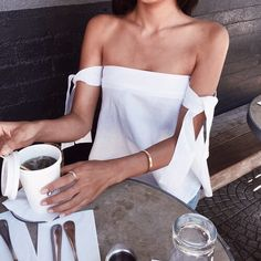 beautiful white off the shoulder tie top