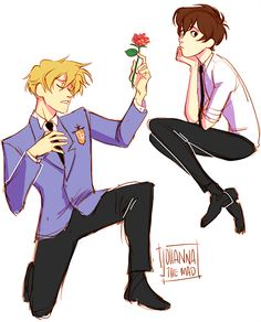 Ouran High School Host Club - Tamaki Suoh x Haruhi Fujioka - TamaHaru Colégio Ouran Host Club, Ouran Highschool Host Club, Host Club Anime, High School Host Club, Billdip, Devilman Crybaby, Hetalia, Tamaki, The Ancient Magus Bride