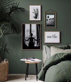 botanical interior design ideas dark green bedroom with white art #darkBedroom