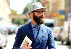Bowtie - Hat, Hipster Glasses, and a double breasted blazer, I love each of these things, just not all together and simultaneously monochromatic.