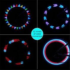 HITOP Light Fahrrad Licht 7 LED Vollfarbige Rad Speichen Wasserfeste Reifen helle LED Licht Lampe - 12 Muster Themen mit Hunderten - Ideal zum Aufpeppen