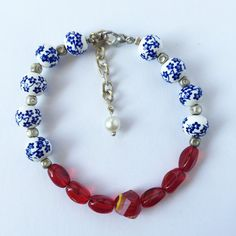Patriotic Bead Bracelet - fourth of july bracelet - 4th of july- americana-sumer-proud american bracelet - audriasprettypieces
