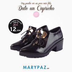 ¡ Date tu capricho de viernes !  ►►► Conoce las ÚLTIMAS TALLAS AW15 en TIENDA y ONLINE. Compra ya en tu tienda MARYPAZ más cercana o en marypaz.com  #dateuncapricho #moda #cool #porquetelomereces #comprasfelices   Compra ya este BLUCHER DE TACÓN REBAJADO aquí ► http://www.marypaz.com/tienda-online/blucher-de-tacon-con-flecos-y-aplique-con-cordones-50508.html?sku=72485-35