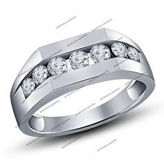 White Diamond Wedding Band Mens 10K White Gold Round Cut Engagement Ring 1.40 Ct #br925silverczjewelry #BandRing