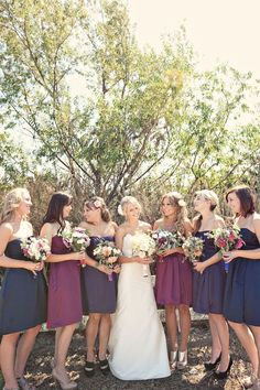 Berry shades on bridesmaids, navy and cranberry hmmm what to choose