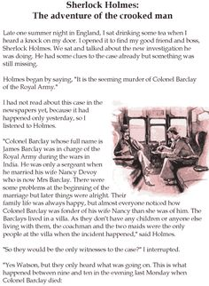 Grade 5 Reading Lesson 9 Mystery – Sherlock Holmes: The Adventure Of The Crooked…