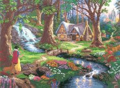 * Snow White Discovers the Cabin - Disney Cross Stitch - Thomas Kinkade - Disney Dreams Collection Working on this one right now. Disney Cross Stitch Kits, Cross Stitch Love, Counted Cross Stitch Patterns, Cross Stitch Designs, Cross Stitch Embroidery, Cross Stitching, Stitching Patterns, Thomas Kinkade Art, Thomas Kinkade Disney