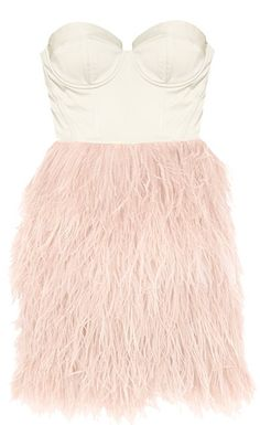 Princess Feather Frock: Features a beautiful sweetheart neckline crowning a padded satin bustier, multiple layers of frothy pink feather trim surrounding the lower portion, and a centered rear zip closure to finish.