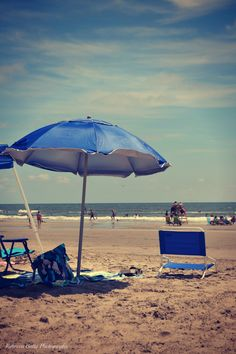 Beach chairs and an umbrella. Wildwood Crest, NJ
