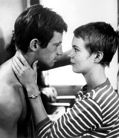 "1960's French New Wave cinema at its best. Jean-Paul Belmondo & Jean Seberg in Jean Luc Godard's film ""Breathless."""
