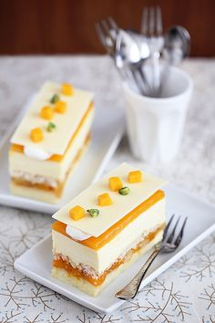Lumiere Exotic Cake - layers of cheesecake, fruit, white chocolate mousse, mango & passionfruit jelly with rum syrup. Gourmet Desserts, Fancy Desserts, Plated Desserts, Delicious Desserts, Sweet Recipes, Cake Recipes, Dessert Recipes, Mini Cakes, Cupcake Cakes
