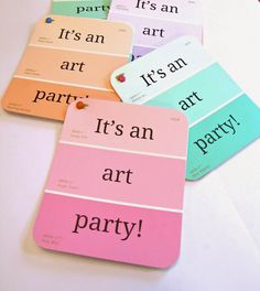 Art party invitations using paint chips. So cute!