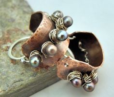 Studded Pearl Hoops, Copper, Sterling Silver, and Pearl earrings, ThePurpleLilyDesigns. $39.50, via Etsy.