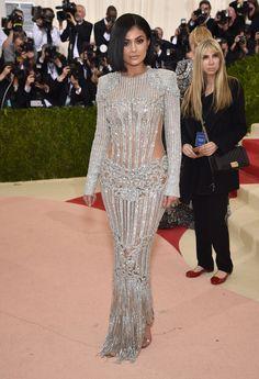 Kylie Jenner in a Balmain dress, Lorraine Schwartz jewelry, and Aquazzura shoes
