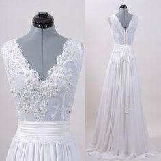 Ivory Lace Top V Neck Long Cheap Brides Wedding Dresses, PM0612 The dress is fully lined, 4 bones in the bodice, chest pad in the bust, lace up back or zipper back are all available. This dress could