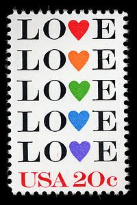 Rainbow of hearts on the 1984 Postal Service Love stamp issue, for Valentine's Day, weddings, anniversaries, or special occasions.