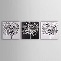 handmålade abstrakta oljemålningar med sträckt ram - set om 3 – SEK Kr. 758