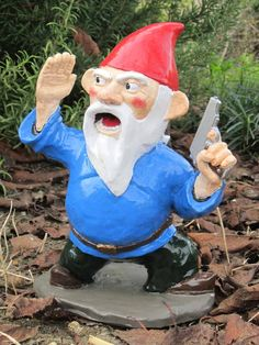 Combat Garden Gnome Officer with Pistol by thorssoli on Etsy. $58.00 USD, via Etsy.  Hilarious spin off of the garden gnome.
