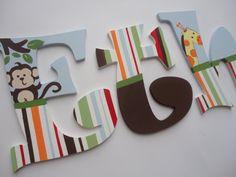 Custom hand painted wooden wall letters - jungle jubilee (giraffe, monkey, lion) on Etsy, $22.69 CAD