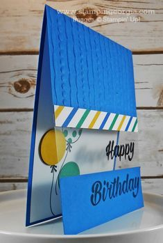 Floating cards using Stampin; Gingham Gala papers and Happy Birthday thinlits Birthday Cards For Boys, Masculine Birthday Cards, Handmade Birthday Cards, Happy Birthday Cards, Diy Birthday, Birthday Card Making, Birthday Sayings, Happy Birthdays, Sister Birthday