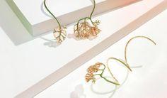 """Nuun, collection """"Lumière"""" bracelet et collier """"Fleurs fanées"""" en or rose, tsavorites et laque rose"""