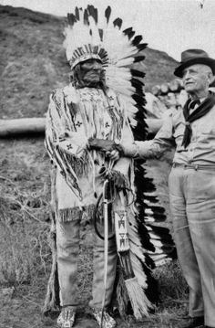 White Bull (Hunkpapa) (age 86), Sgt. Jacob Horner (age 82) - 1936 {Note: Sgt. Jacob Horner served with Co. K of Custer's 7th Cavalry Regiment. However, he was left behind before the Little Bighorn Battle in 1876, because his horse was lame. At the time of this photo Sgt. Horner was the last surviving member of Custer's 7th Cavalry Regiment.}