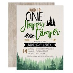 Shop Forest Camper Birthday Invitation Camping Party created by HappyPartyStudio. One Year Birthday, First Birthday Party Themes, 1st Birthday Invitations, Boy First Birthday, Boy Birthday Parties, Birthday Ideas, First Birthday Camping Theme, Birthday Banners, Farm Birthday