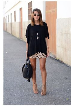 Black shirt mom bought you and tight skirt with long necklace
