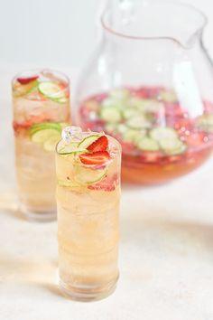 Sparkling Strawberry Cucumber Sangria