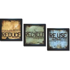 Wani Pasion 'Reduce Recycle and Reuse' Framed 3-piece Art Set, Black