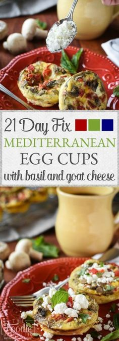 These 21 Day Fix Mediterranean Egg Cups with Goat Cheese and Basil are a a healthy and flavorful make-ahead breakfast that's perfect for meal-prepping! Gluten-Free.