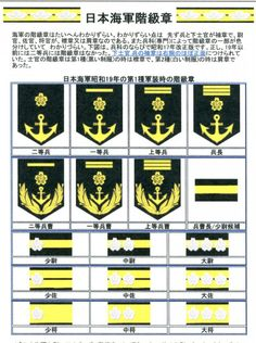 01昭和19年階級章 Military Ranks, Military Personnel, Navy Rank Insignia, Navy Ranks, Imperial Japanese Navy, Korean Words, Porsche Logo, Japanese Girl, Character Design