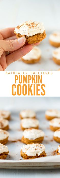 Easy soft pumpkin cookies that are healthy AND literally, the best! The naturally sweetened cream cheese frosting is SO good, or add chocolate chips! :: DontWastetheCrumbs.com