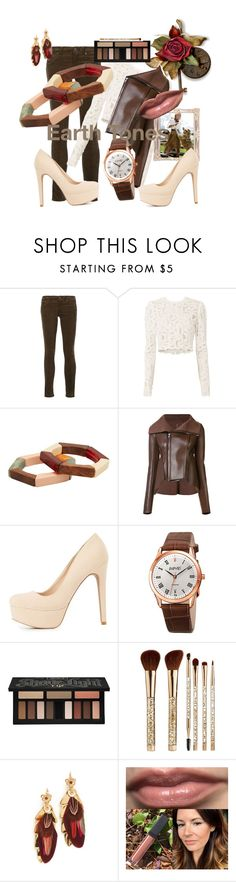 """""""Earth Tones"""" by mzjerseygurl ❤ liked on Polyvore featuring rag & bone/JEAN, A.L.C., MANGO, Rick Owens Lilies, Charlotte Russe, August Steiner, Kat Von D, Sephora Collection and Gas Bijoux"""
