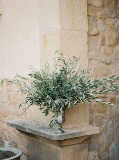 #olive-grove #foliage #organic #table-centrepiece http://www.stylemepretty.com/little-black-book-blog/2015/02/05/organic-al-fresco-mediterranean-wedding-inspiration/ | Photography: Mireia Cordomi / Wedding Style Inspiration / La Fabrique à Rêves / www.lafabriqueareves.com