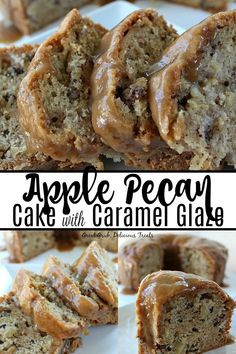 Apple Pecan Cake with Caramel Glaze is a deliciously moist cake made with little., Desserts, Apple Pecan Cake with Caramel Glaze is a deliciously moist cake made with little apples chunks and pecans with a delicious caramel glaze drizzled over. Over The Top, Apple Cake Recipes, Dessert Recipes, Apple Cakes, Pecan Recipes, Moist Cake Recipes, Apple Bundt Cake Recipes, Moist Apple Cake, Dessert Ideas