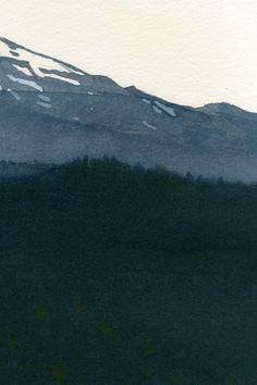 detail, Mount Bachelor, watercolor by Eva Bartel