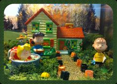 This is a Charlie Brown fall scene displayed at a store in Novato!  The set doesn't include the walkway and background, but so adorable!