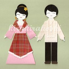 FILIPINO BOY and GIRL Couple in Barong Tagalog and Maria Clara Paper Doll Card Topper (Set of 2)