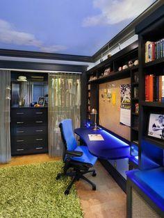 chambre d'ado garcon avec meuble en noir, tapis vert, carrelage beige