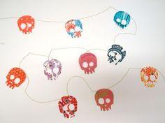 paper skull garland