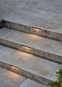 Step lighting - Providence Residence - modern - Patio - Charlotte - TG&R Landscape Group Outdoor Stair Lighting, Driveway Lighting, Exterior Lighting, Outdoor Step Lights, Front Porch Steps, Patio Steps, Outdoor Steps, Modern Patio Design, Porch Tile
