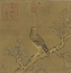 An eagle on a branch 18th century  Emperor Huizong 1082-1135 (reigned 1101-25)) Qing dynasty  Ink and color on silk H: 24.2 W: 23.8 cm China