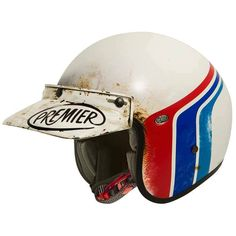 "PREMIER Le Petit Classic ""BTR 8 BM"". Retro styling and used look on this open face motorcycle helmet by PREMIER."