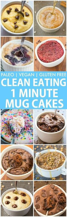 Clean Eating Healthy 1 Minute Mug Cakes, Brownies and Muffins (V, GF, Paleo)- Delicious, single-serve desserts and snacks which take less than a minute! Low carb, sugar free and more with OVEN options too! {vegan, gluten free, paleo recipe}- thebigmanswor http://healthyquickly.com